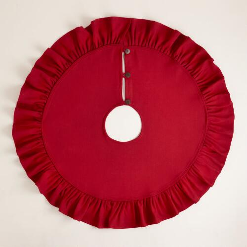 Red Ruffled Burlap Tree Skirt