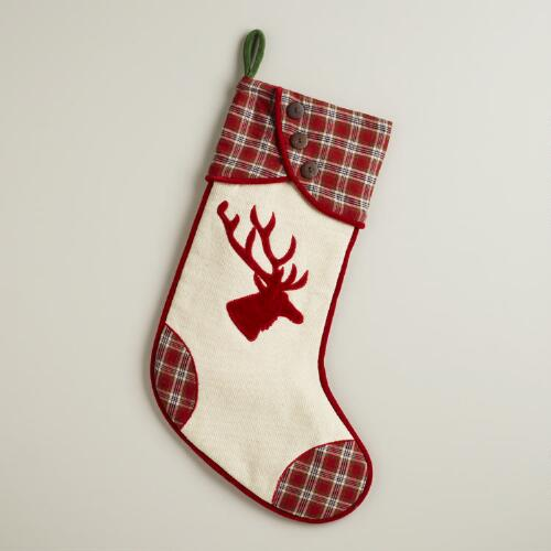 Red Plaid Stag Stocking