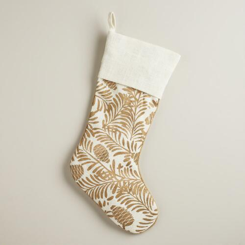 Golden Pinecone Stocking