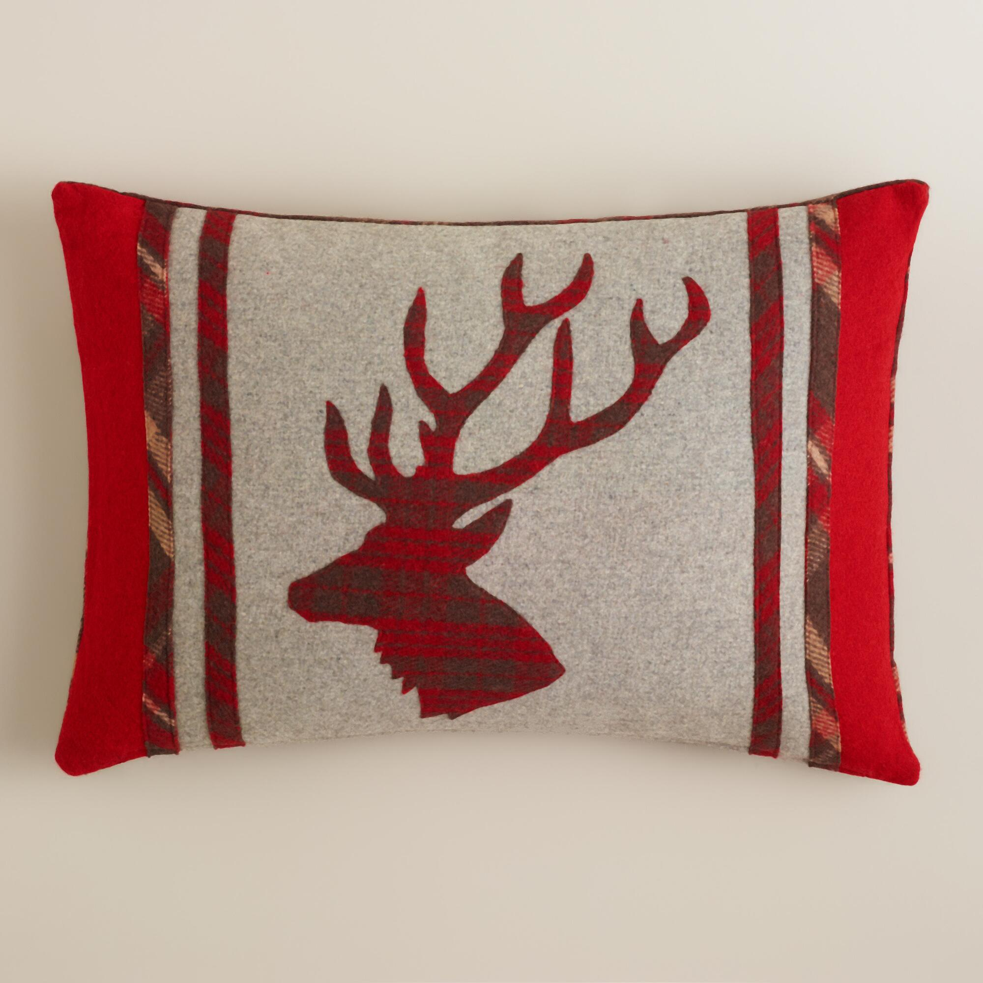 World Market Pillows: Stag's Head Boiled Wool Throw Pillow