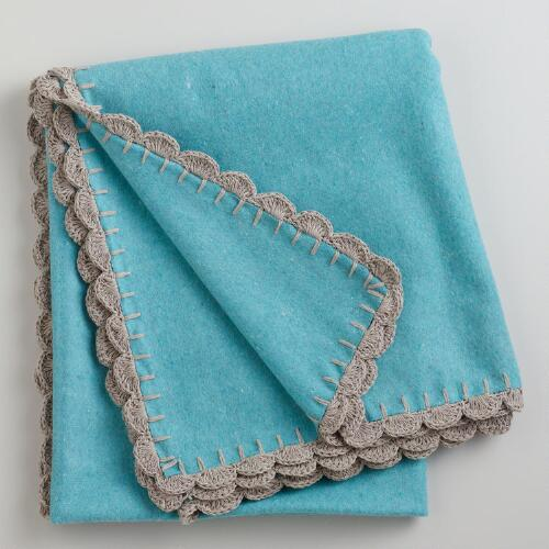 Aqua Boiled Wool Throw