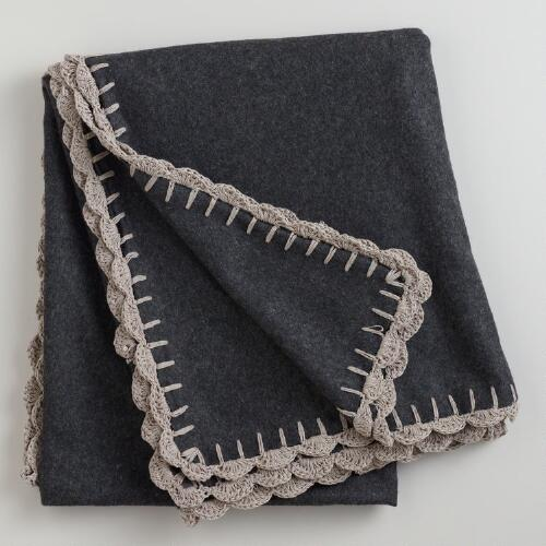 Dark Gray Boiled Wool Throw