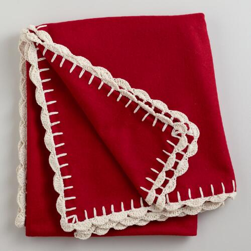 Red Boiled Wool Throw