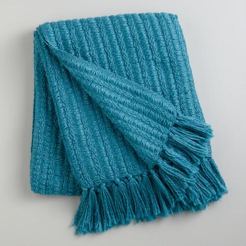 Blue Loft Lurex Throw