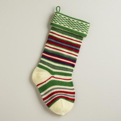 Green Multi-Stripe Knit Stocking