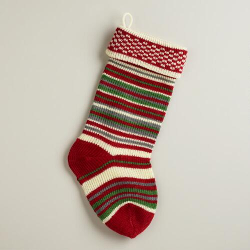 Red Multi-Stripe Knit Stocking