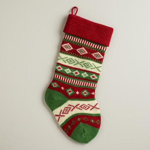 Red Geo Stripe Knit Stocking