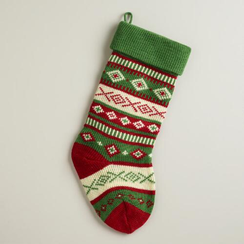 Green Geo Stripe Knit Stocking