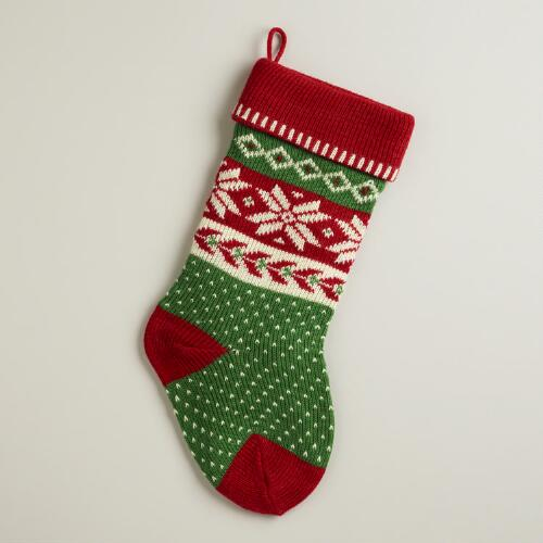 Red Snowflakes and Holly Knit Stocking
