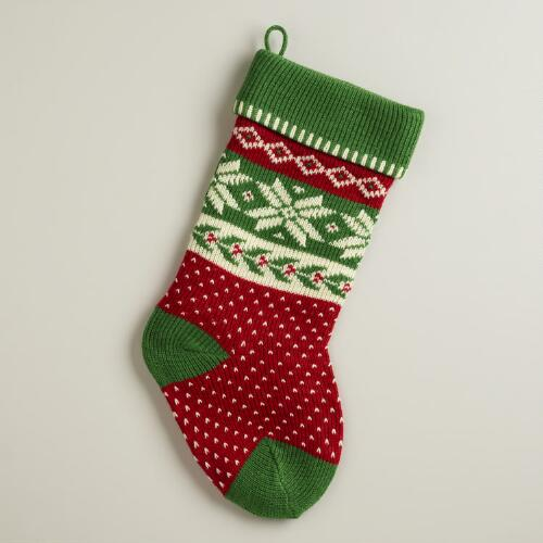 Green Snowflake Knit Stocking