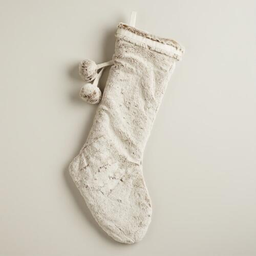 Latte Faux Fur  Stocking