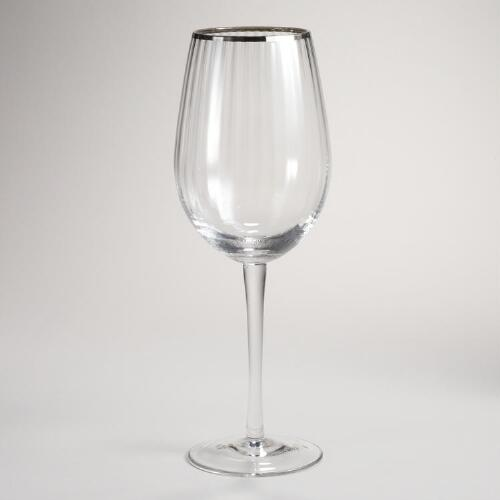 Platinum Banded Optic Wine Glasses, Set of 4