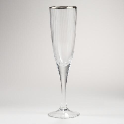 Platinum Banded Optic Champagne Flutes, Set of 4