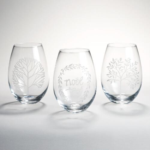Etched Noel Stemless Wine Glasses, Set of 3