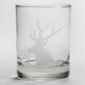 Etched Stag Double Old Fashioned Glasses, Set of 2