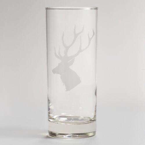 Etched Stag Highball Glasses, Set of 2