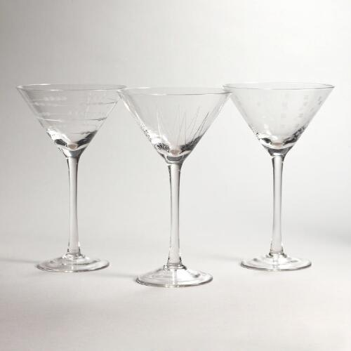 Etched Martini Glasses, Set of 3