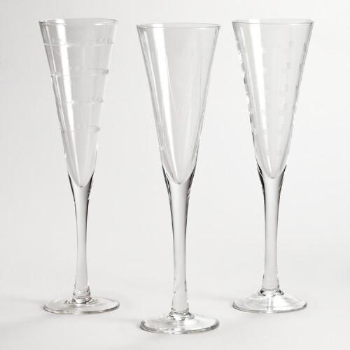 Etched Champagne Flutes, Set of 3