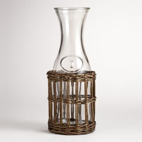 Wicker and Glass Decanter