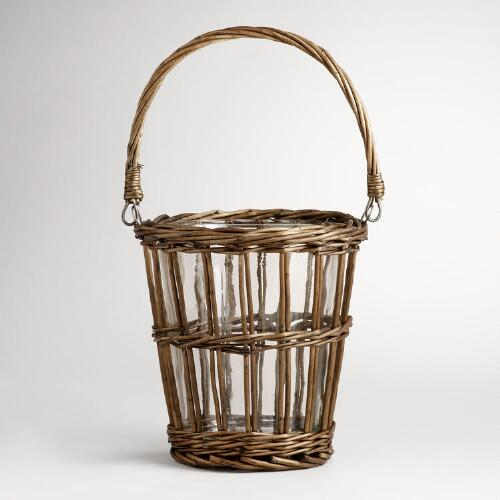 Wicker and Glass Ice Bucket
