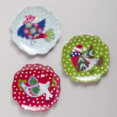 Melamine Alpine Bird Scalloped Plates, Set of 3
