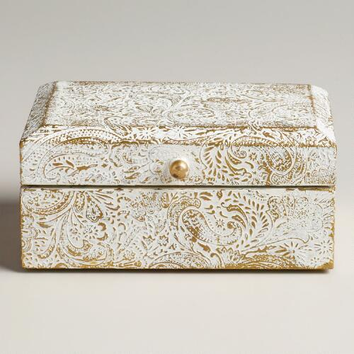 White and Gold Alexandra Jewelry Box