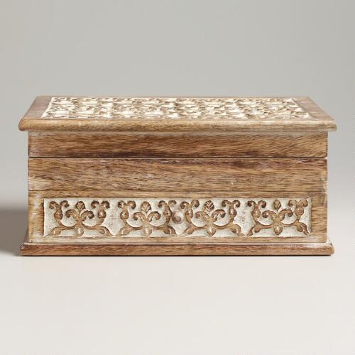 Whitewashed Carved Amelia Jewelry Box