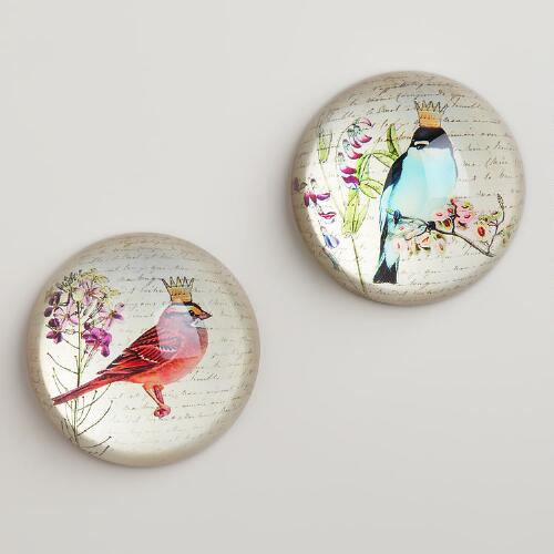 Victorian Bird Paperweights, Set of 2