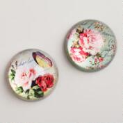 Victorian Floral Paperweights, Set of 2