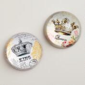 Crown Paperweights, Set of 2