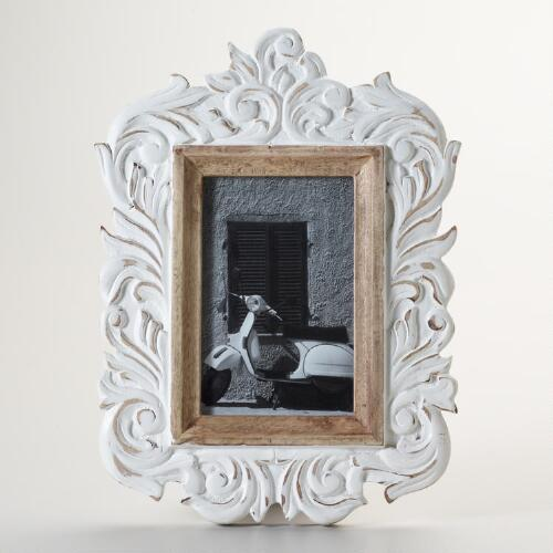 White Distressed Iris Frame