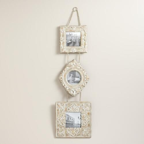 Antique-White 3-Tier Esme Hanging Wall Frames