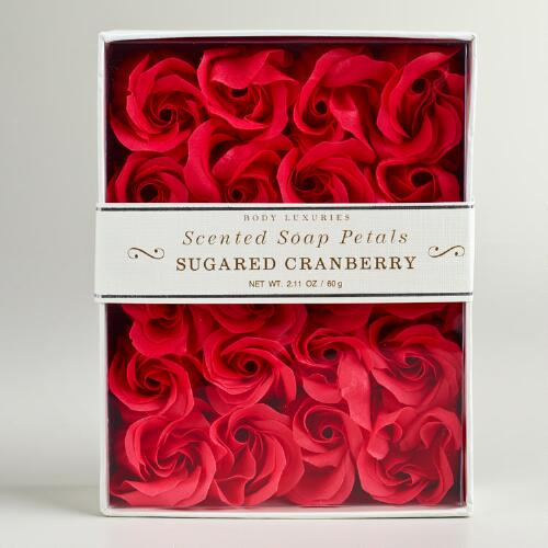 Sugared Cranberry Rose Soap Petals, 20-Piece