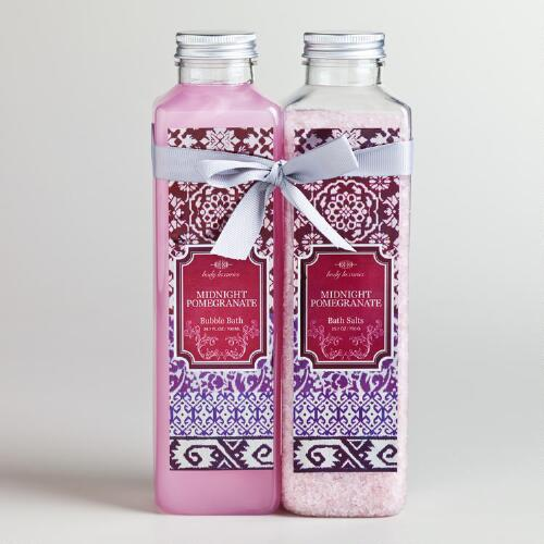 Midnight Pomegranate Ikat Bath Salt and Bubble Bath, 2-Piece