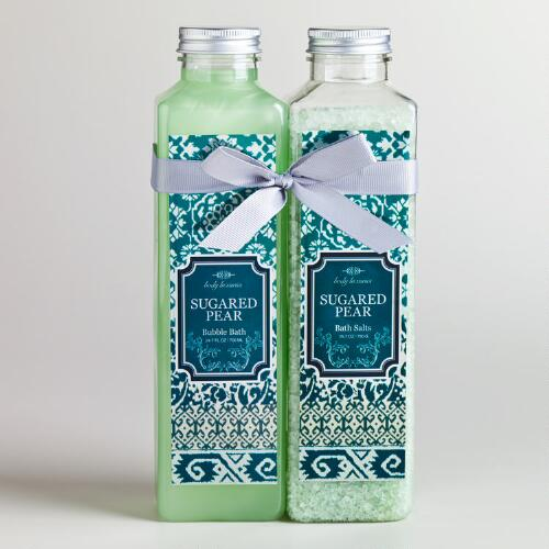 Sugared Pear Ikat Bath Salt and Bubble Bath, 2-Piece