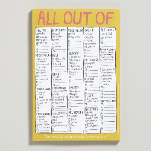 """All Out of"" List Pad"