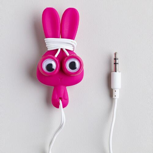Pink Bunny Earbuds and Cord Wrapper