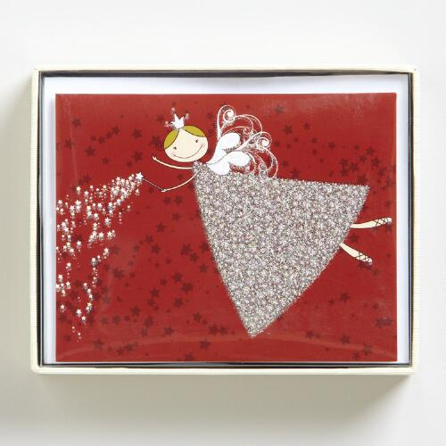 Glittering Angel Boxed Holiday Cards, Set of 15