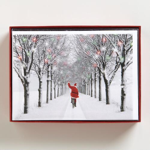 Santa on Bicycle Boxed Cards, Set of 15