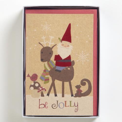 Gnome and Reindeer Boxed Holiday Cards, Set of 15