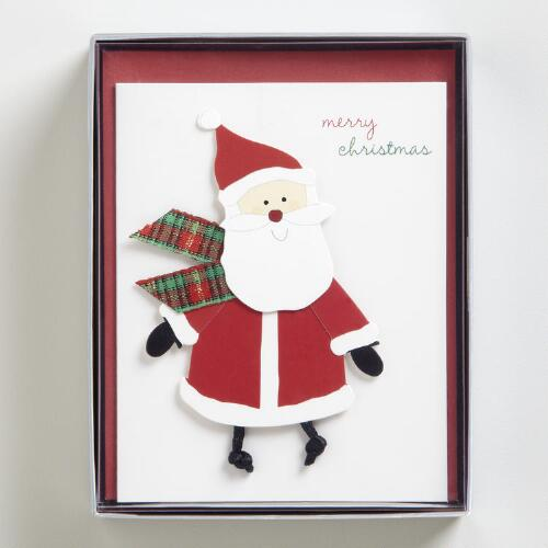 Santa with Scarf Boxed Holiday Cards, Set of 15