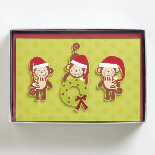 Three Monkey Row Boxed Holiday Cards, Set of 15
