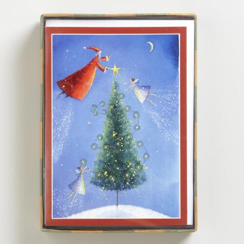 Santa Tree Angels Boxed Holiday Cards, Set of 16