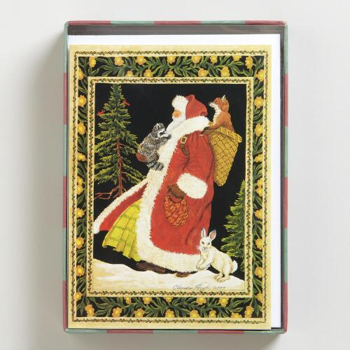 Santa in the Woods Boxed Holiday Cards, Set of 15