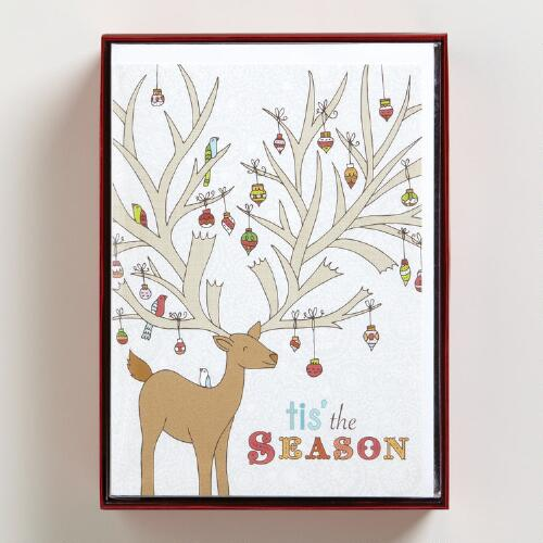 Reindeer with Ornaments Boxed Holiday Cards, Set of 15