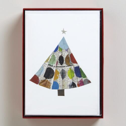 Paper Dot Tree Boxed Holiday Cards, Set of 15