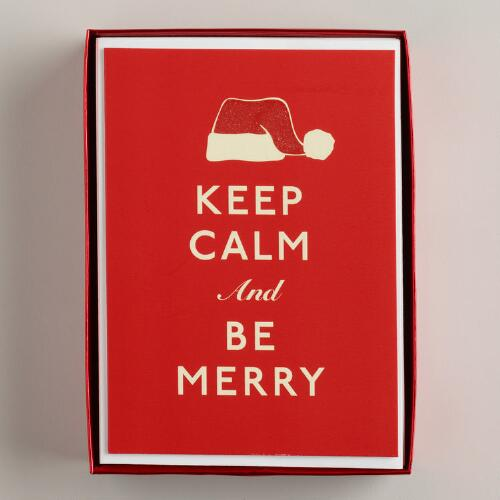 Keep Calm and Be Merry Boxed Holiday Cards, Set of 15
