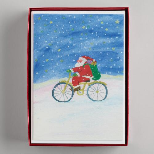 Santa and Bike Boxed Cards, Set of 15