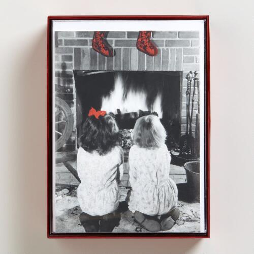 Girls Kneeling Near Fireplace Boxed Holiday Cards, Set of 15