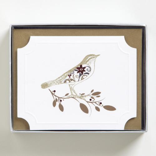 Woodland Bird Boxed Holiday Cards, Set of 15